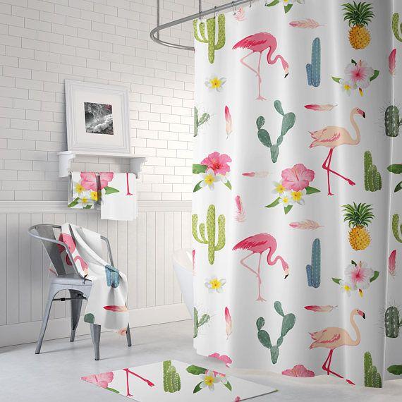 Flamingo Cactus Flower Shower Curtain Tropical Shower Tropical Shower Curtains Blue Kitchen Curtains Flower Shower Curtain