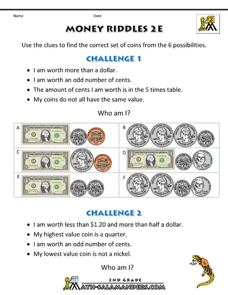 money worksheets money riddles 2e elementary math money worksheets 2nd grade math. Black Bedroom Furniture Sets. Home Design Ideas