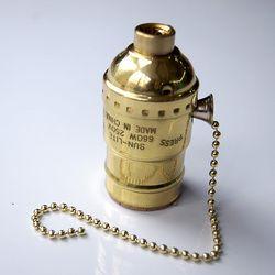 年轮公园 OC.White美式古董工业灯具配件 怀旧黄铜复古拉绳灯头