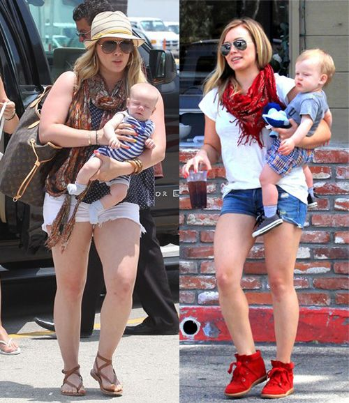 Hilary Duff – Then and Now. Finally someone who has lost their baby weight slowly and steadily. She looks great.