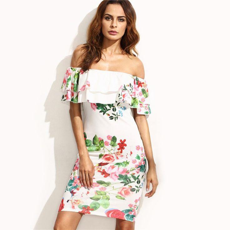 Moda Feminina Tropical Calitta. Vestido Curto Floral Branco Ombro Caido Moda Verão Casual com Babado. Compre vestidos baratos online nas lojas Calitta.