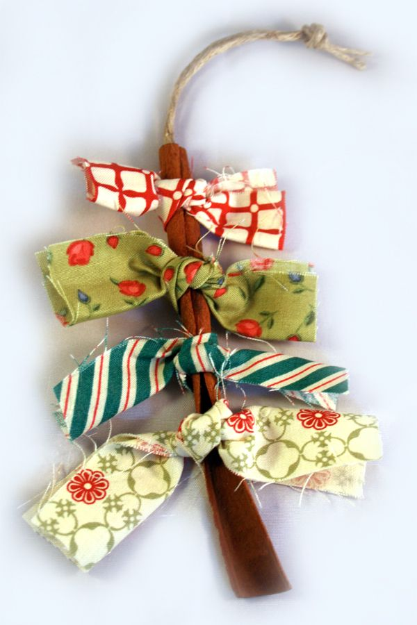 Cinnamon stick ornament. This would make a cute package tie!Learning to tie knots…use twigs, different lengths of fabric or cut afterwards, use as decorations on school tree.
