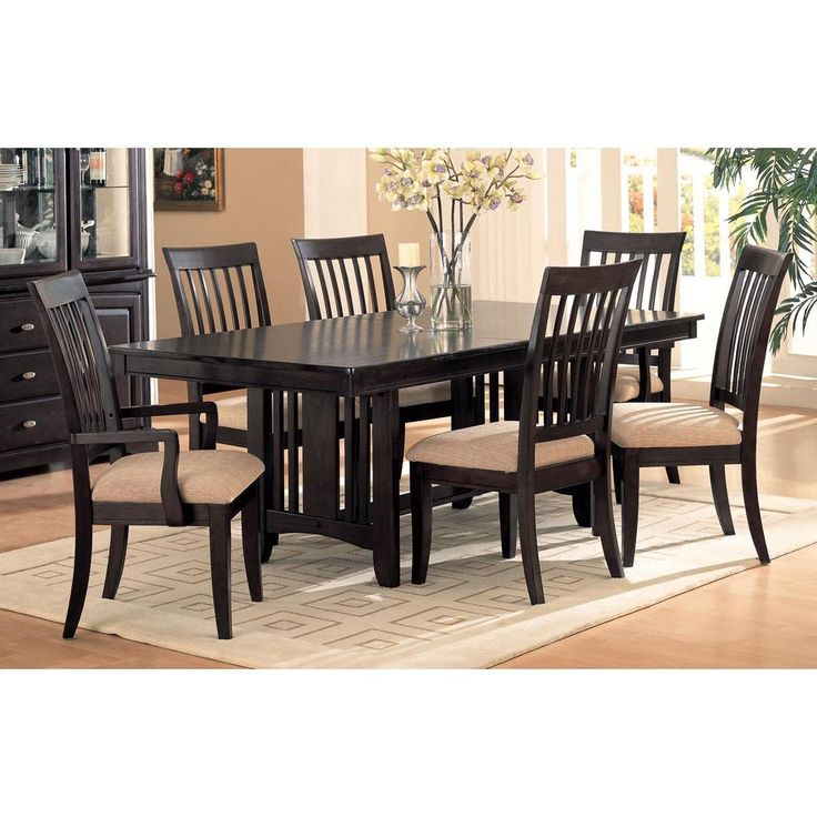 Monroe Dark Cappuccino Slat Back 7 Piece Dining Set