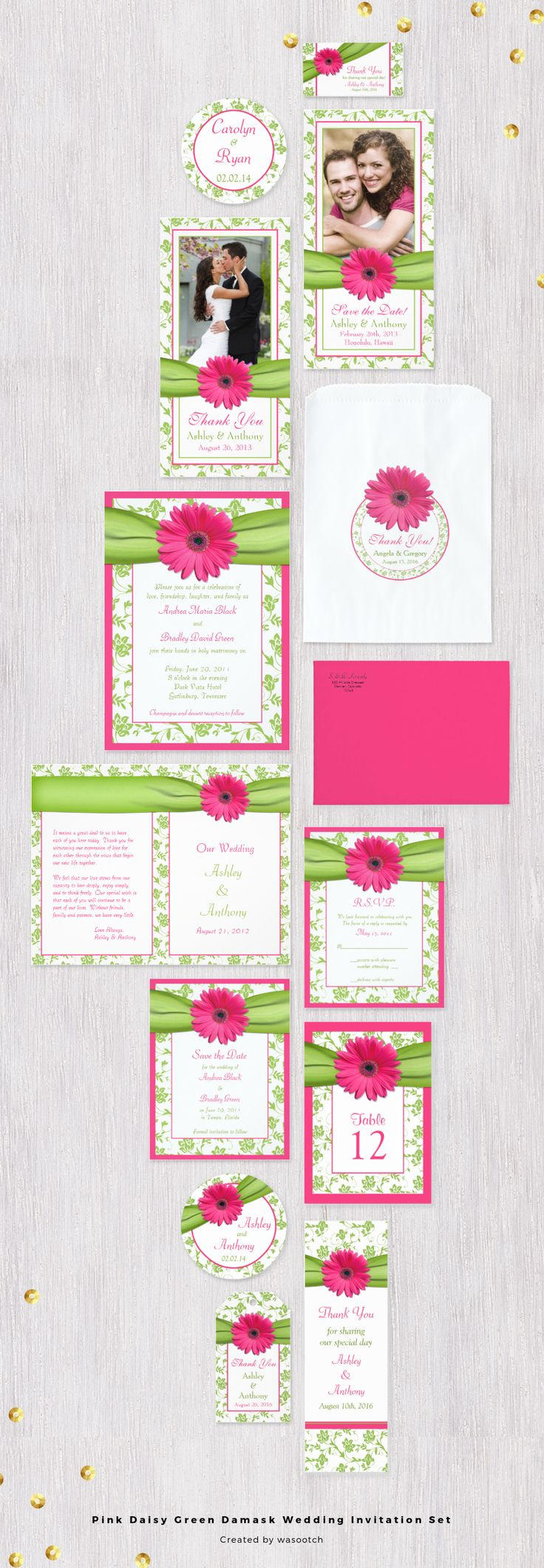 Fuscia Hot Pink gerbera daisy and apple/chartreuse green floral damask and ribbon wedding invitation set. | Spring, summer, outdoor garden wedding | raspberry