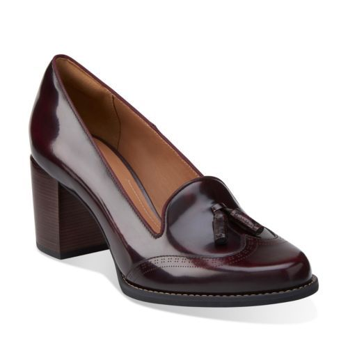 Tarah Rosie Burgundy Leather - Clarks Womens Shoes - Womens Heels and Flats…