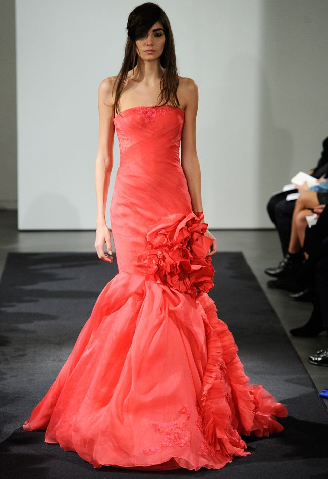 Yay or Nay to the Pink Wedding Gown Trend? Check out Vera Wang Fall 2014 Wedding Dresses from #BridalMarket