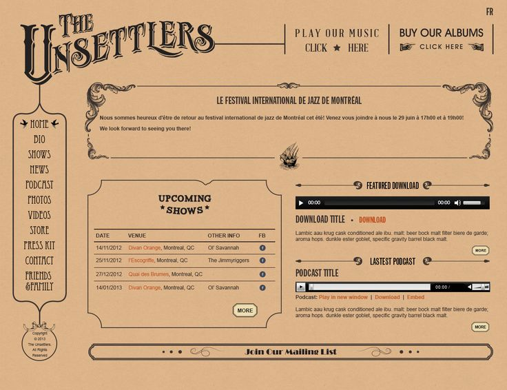 The Unsettlers Band Website, features WordPress CMS