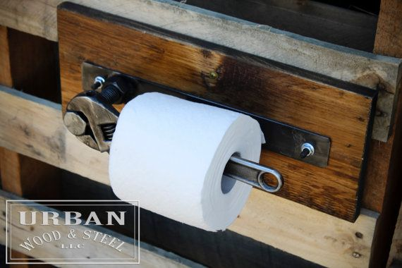 Wondering what was missing in your life? The answer is a toilet paper holder made from a wrench! Make your bathroom one-of-a-kind with this holder made from a reclaimed pine base, raw steel, a big bolt and a pipe-fitters wrench! Whether its the for shop or the man cave, this unique item makes the perfect gift for the man in your life. PS. It looks great with our industrial towel rack! https://www.etsy.com/listing/205166466/industrial-wrench-towel-rack?  DIMENSIONS: 15...