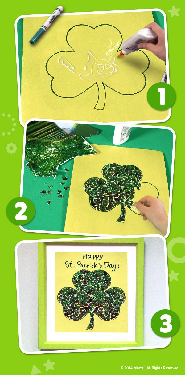 This easy St. Patrick's Day shamrock collage keeps kids engaged and will be worthy of hanging on the fridge! #DIY #Crafts #Activity