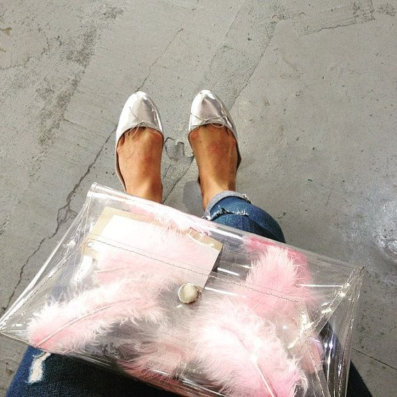 Clear clutch transparent bag with pink feathers by ypsilonpoland