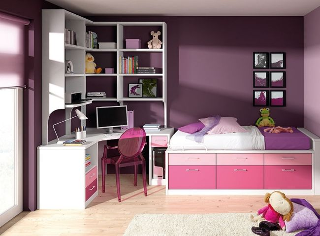 limba kinderzimmer m dchen farben lila rosa bett stauraum. Black Bedroom Furniture Sets. Home Design Ideas