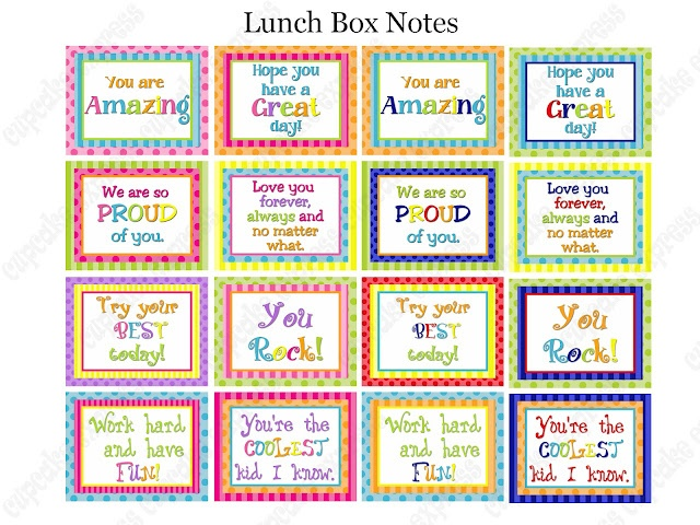 Free Printable Lunch Box Notes- put these in your students' lunch boxes or bookbags as a surprise!