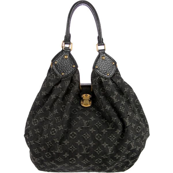 Pre-owned Louis Vuitton Denim L Hobo ($1,195) ❤ liked on Polyvore featuring bags, black, zipper bag, louis vuitton, denim bag, monogrammed bags e roll up bag