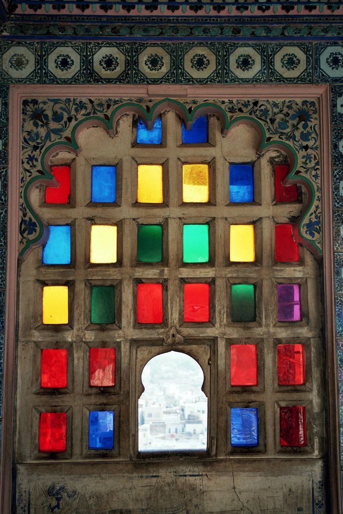 Udaipur colored glass; photo by     Adrian Whelan. Stained glass in City Palace, Udaipur, Rajasthan, India.Doors, Rajasthan India, Colors Windows, Adrian Whelan, Rainbows, Art, Stained Glasses Windows, Colors Glasses, Colours