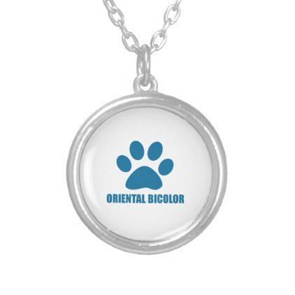ORIENTAL BICOLOR CAT DESIGNS SILVER PLATED NECKLACE - jewelry jewellery unique special diy gift present