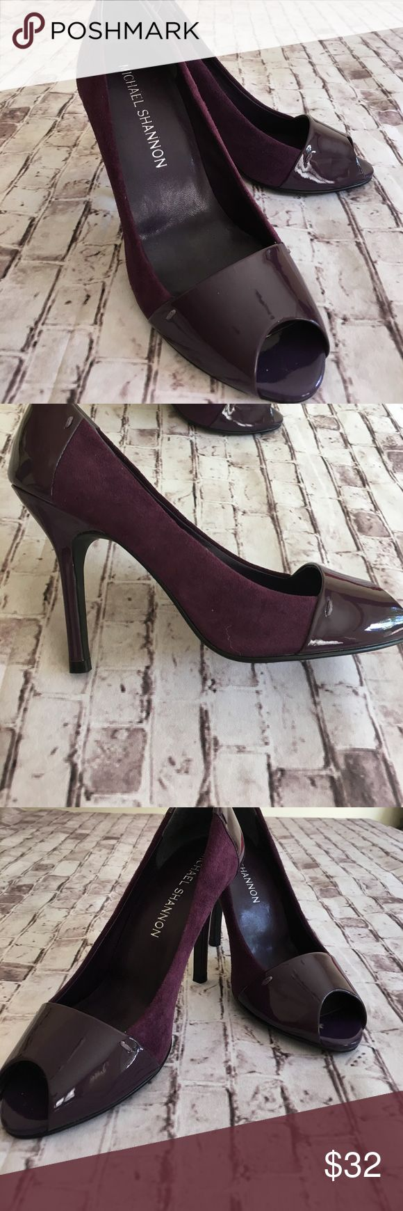 "New Michael Shannon purple open toe heels suede Patent leather and suede leather.Heel height - approx 3.75"". No box included.  Size 5.5 M. Brand new!!!!! Very elegant ❤️ Michael Shannon Shoes Heels"