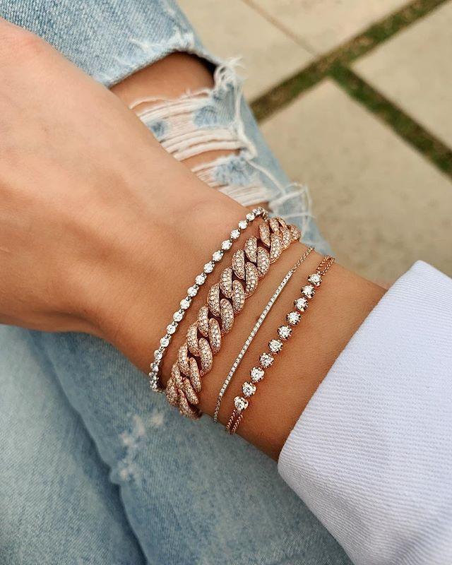 From Top To Bottom Single Prong Tennis Bracelet Triple Row Diamond Curb Chain Bracelet Diamond Bar B Diamond Bracelet Design Bracelet Designs Luxury Jewelry