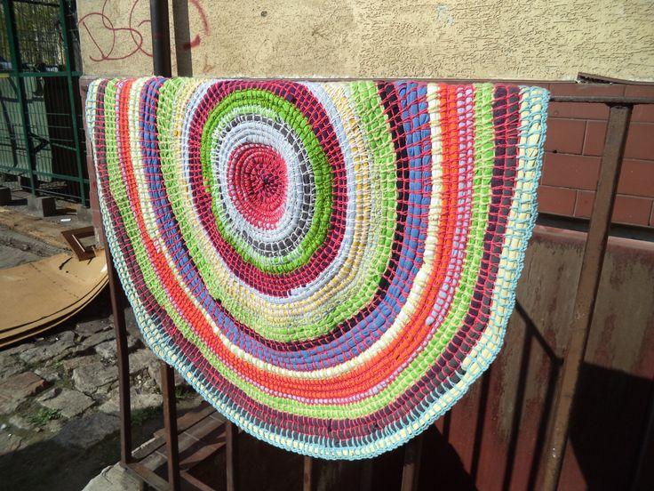 Crochet, old T-shirt rug by O R I M O N O!  How'd ya like the colours? Chosen by accident ;)) https://www.facebook.com/ORIMONO.reczna.praca.awaryjna