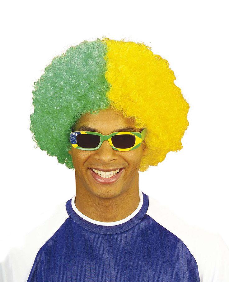 Esta peluca afro bicolor tiene los colores de Brasil.