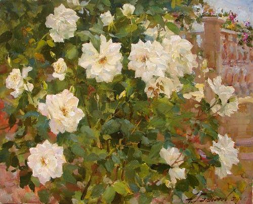 Painting Azat Galimov .November rose. Chloraka. Cyprus.