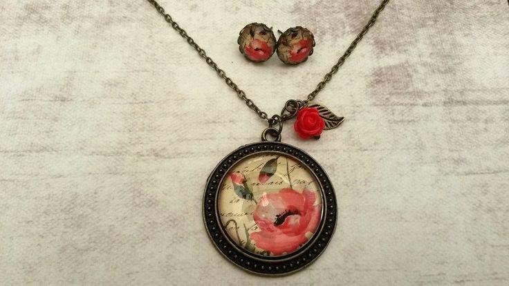 Medaillon kettingen - Handgemaakte ketting klaproos met oorbellen - Een uniek product van Tracy-Jewels op DaWanda