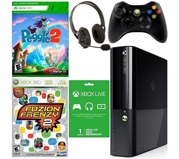 Xbox 360 E 4GB Bundle Peggle 2, Fuzion Frenzy 2, Accessories — QVC.com