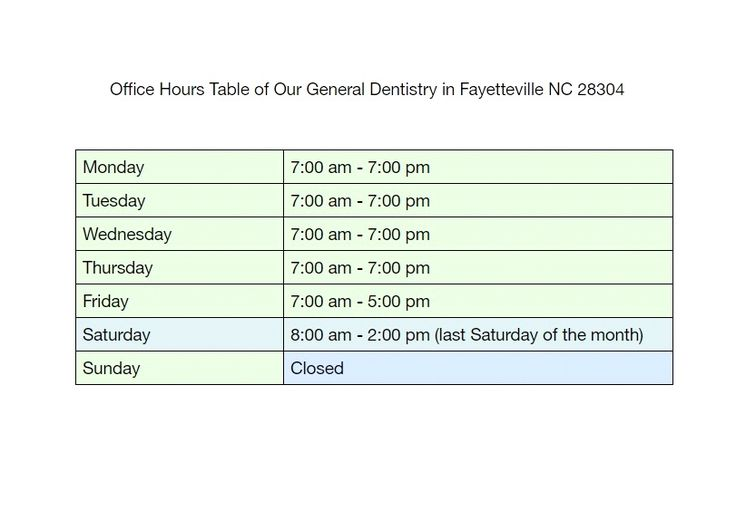 #officehours table of our #generaldentistry in #fayettevillenc 28304
