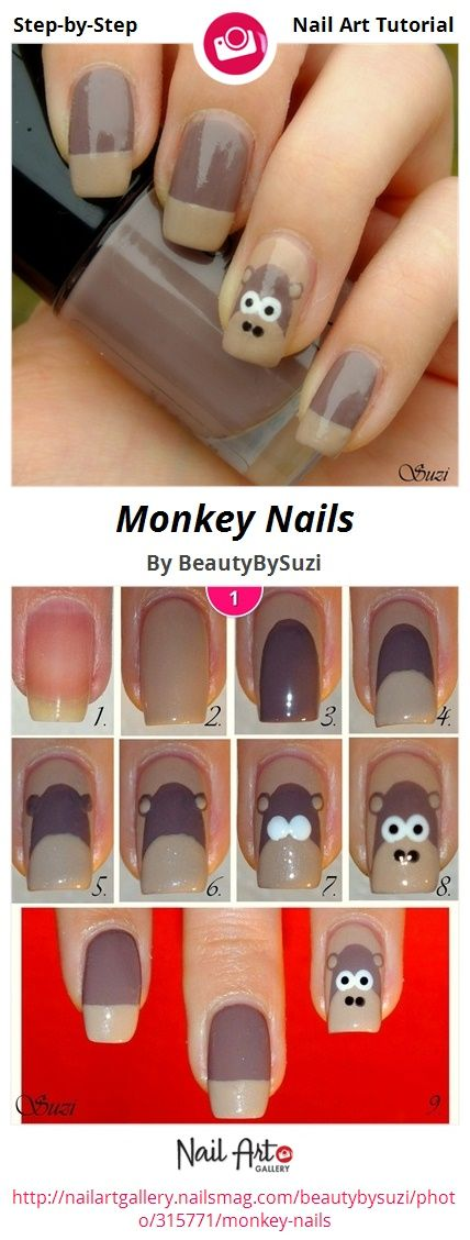 Monkey Nails by BeautyBySuzi - Nail Art Gallery Step-by-Step Tutorials nailartgallery.nailsmag.com by Nails Magazine www.nailsmag.com #nailart