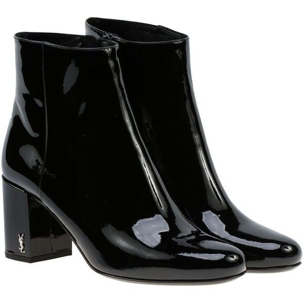 Saint Laurent Babies 90 Ankle Boots (12,430 MXN) ❤ liked on Polyvore featuring shoes, boots, ankle booties, black, short black boots, black bootie boots, black bootie, black booties and yves saint laurent