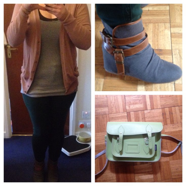 Comfy casual work outfit - hidden wedge ankle boots from Aldo, evergreen skinny jeans from Next, blush slouchy cardigan from Penneys, long-sleeved grey top from Jack Wills (with charcoal tank from TopShop under) & green satchel from Zatchel