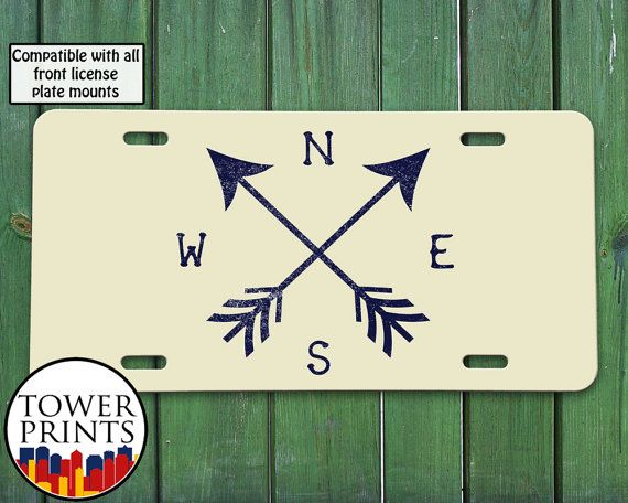 Arrows Compass Beige Navy Vintage Design Travel by TowerPrints