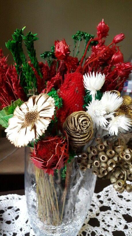 Vase of xmas flowers
