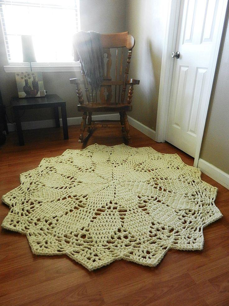Crochet Doily Rug floor ecru off white beige Lace by EvaVillain