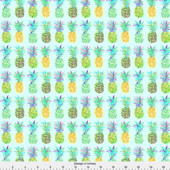 Watercolor Pineapple Fabric Pineapple In Blue By Erinanne