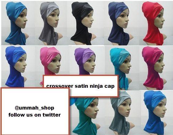 full Satin Crossover Muslim Inner Hijab Caps Underscarf Hat Ninja Hijab bonnet #satincrossoverninja