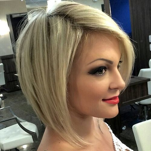 blonde angled bob for thin hair