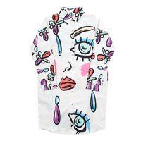 2017 Весна Европейская Мода Женщины Рубашка Женская Граффити Глаза Напечатаны Рубашку с Длинными рукавами Блузка Женская