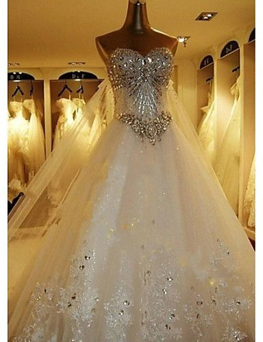 A-line Petite Wedding Dress-White Cathedral Train Sweetheart Tulle 2016 - $299.99