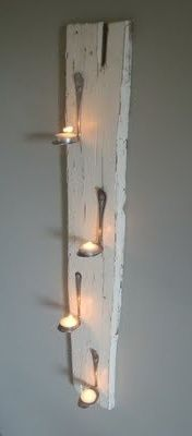 could re purpose barn wood and use spoons from the thrift store. get a wide enough spoon to put on votives, Christmas ornaments, and other cute things.