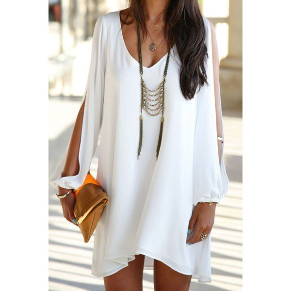 Elegant Women's V-Neck Long Sleeve Loose-Fitting White Chiffon Dress