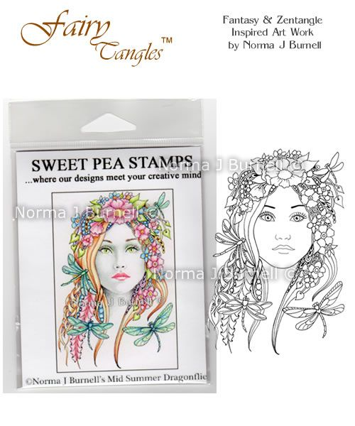 "New release Rubber Stamp for crafting: ""Midsummer & Dragonflies"" available at https://www.etsy.com/shop/FairyTangleArt  or at http://sweetpeastamps.com"