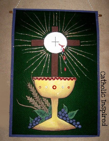 First Communion Banner Templates   She LOVED to paint so she used acrylic paint on a green sheet of stiff ...