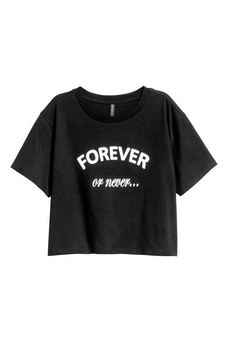 Camiseta corta - Negro - MUJER | H&M ES 1
