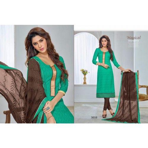 Unstitched Salwar Kameez Stepping fashion green color Designer Salwar Suit