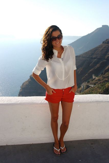 White James Perse button up. Red shorts. Resort Vacation fashion Summer 2016. STITCH FIX