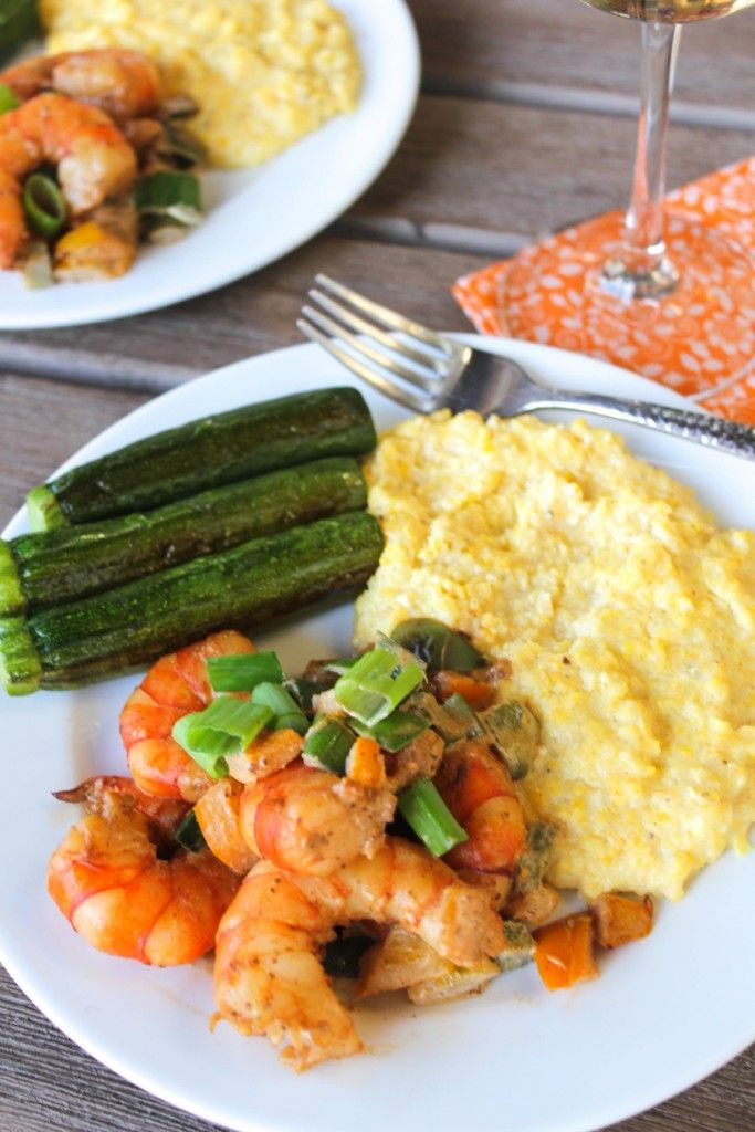 Clean Cuisine Shrimp and Grits Recipe (with Old Bay Seasoning) ---This is a Remake of a Southern Classic Seafood Dinner I Grew Up Eating (and Loving!) It's Dairy-Free, Gluten-Free & 100% Whole Grain