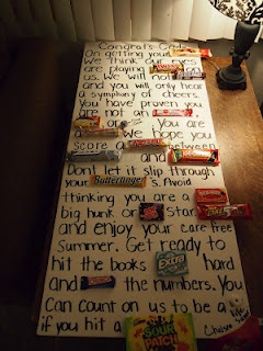 Open House Idea: Candy Bar Card...  I'd change the sayings, but this is a cute idea!