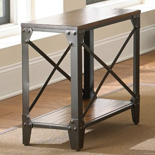 steve silver winston chairside end table rustic medium