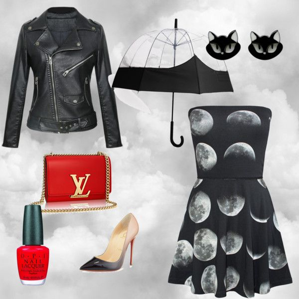 It's raining cats and dogs! by cavasansdire on Polyvore featuring polyvore, moda, style, Christian Louboutin, Hunter and OPI