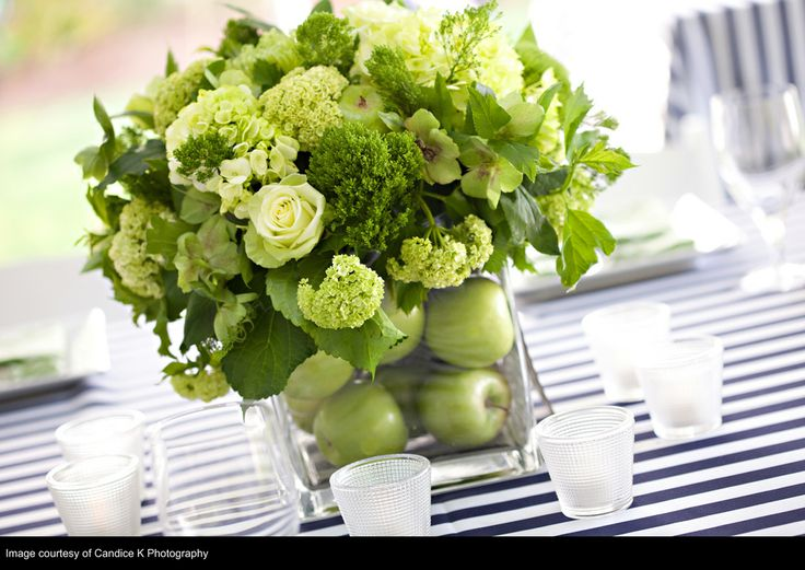 Navy And Lime Nautical Wedding CenterpiecesGreen